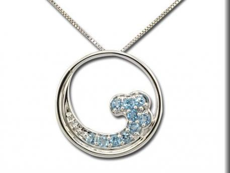Pendants & Necklaces - Blue Topaz Wave Pendant
